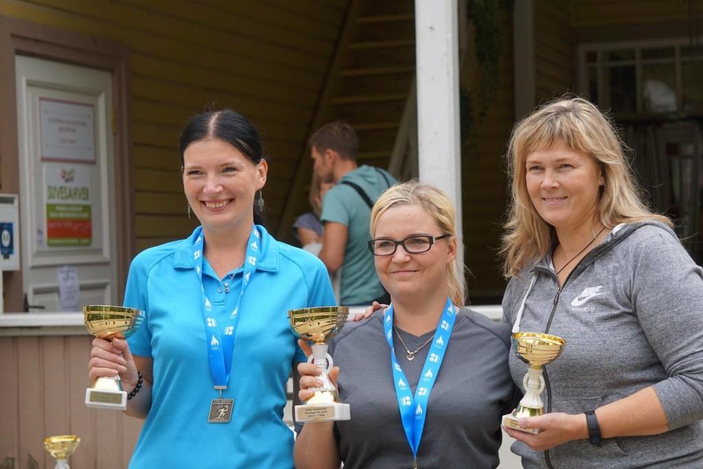 Naiste karikavõistluste esikolmik: (vasakult) Katrin Lember (II), Margit Lepp (I), Terje Pahk (III). Enno Kermik