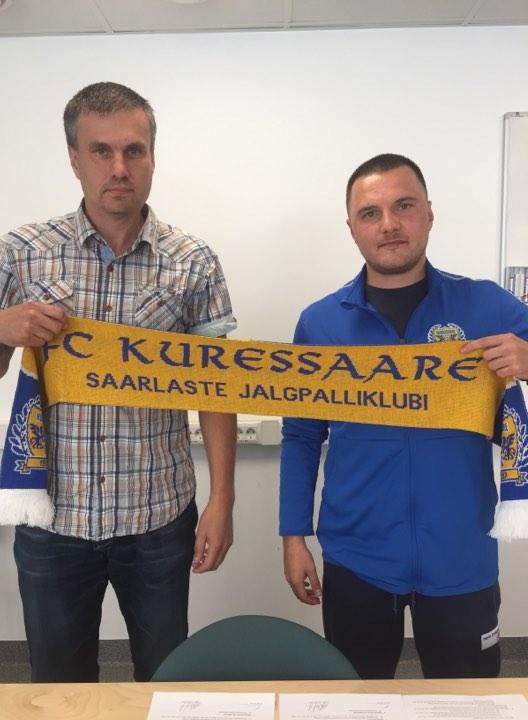 FC Kuressaare president Priit Penu uue peatreeneriga. FC Kuressaare
