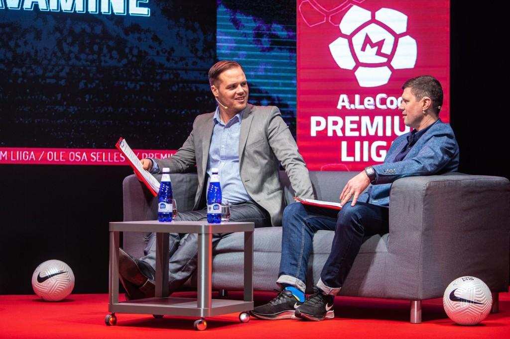 Marko Pärnpuu ja Marko Lelov jalgpallistuudios. Eesti Jalgpalli Liit