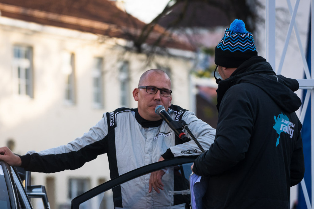 Georg Gross poodiumil. Saaremaa rally